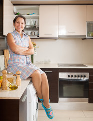 housewife  at domestic kitchen
