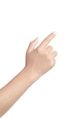 Pointing female hand finger