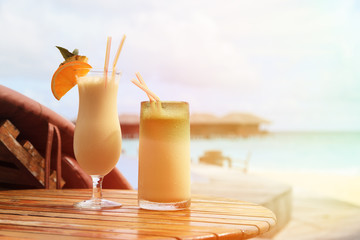 Two cocktails on beach vacation