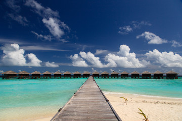 water villas in tropical resort