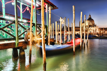 Venice with pier in the evening, Italy