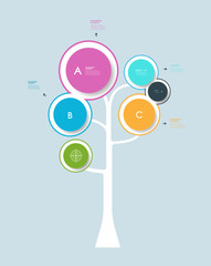 Infographic circle label design with abstract tree growth tree
