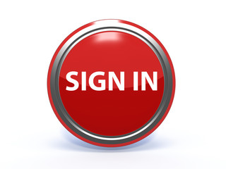 sign in circular icon on white background