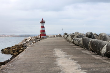 Lighthouse on wharf of Peniche, Portugal