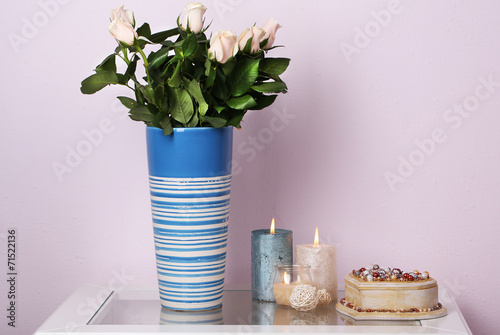 canvas print picture Beautiful vase with roses on light background