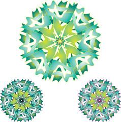 three snowflakes