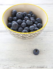 Fresh blueberries in  bowl on  white background