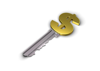 Key to financial success. Concept. 3d illustration