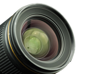 The diaphragm of a camera lens aperture on white background