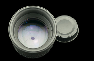 the diaphragm of a camera lens aperture.