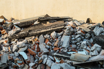 Pile of bricks and debris from destroyed building