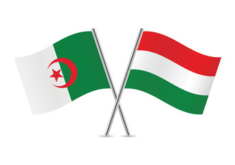 Hungarian and Algerian flags. Vector illustration.