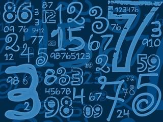 blue handmade numbers math background