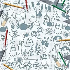 scribbles of halloween monsters on desk with pencils