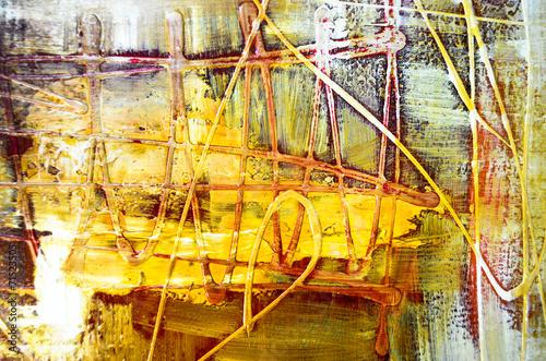 Aluminium Olieverf Kunstdruk Farben Malerei abstrakt Struktur gelb