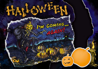 Halloween flyer or poster with a card а candle pumpkin stickers