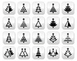 Christmas tree - various types vector buttons set