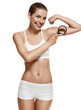 portrait of healthy sport brunette fit girl on white background.