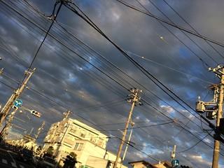雨雲と夕暮れ