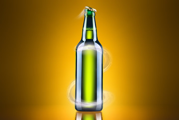 open wet beer bottle