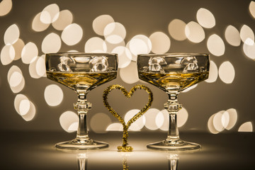 Due bicchieri un cuore , two glass one heart