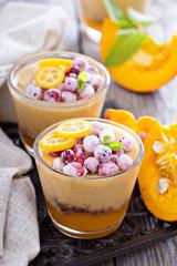 Fall dessert with pumpkin mousse