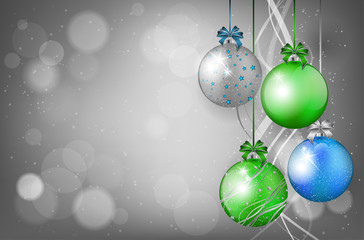 Christmas card with christmas balls and place for text