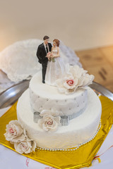 traditional and decorative wedding cake at wedding reception