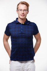 man in jeans and a blue shirt