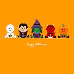 Halloween Mummy, Vampire, Witch, Devil & Pumpkin