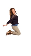 Full length of cheerful young woman jumping