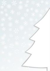 Halber weißer Tannenbaum auf graublau mit Schneeflocken