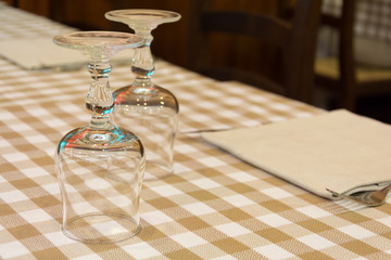 Setting table in a restaurant