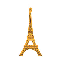 Eiffel Tower isolated on white.