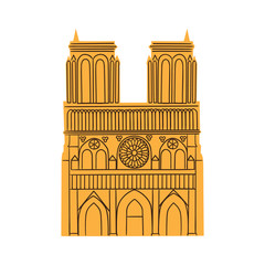 Notre Dame de Paris Cathedral isolated on white.