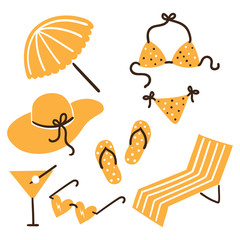 Collection of beach summer accessories.