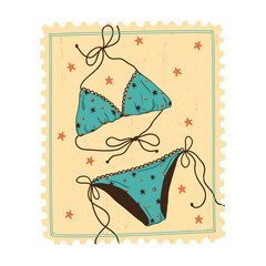 Swimsuit isolated on vintage postage stamp.