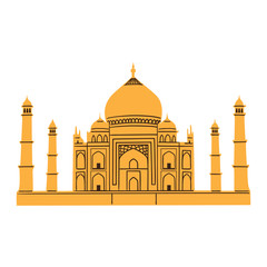 Taj Mahal isolated on white.