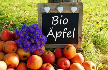 Bio Äpfel - Kreidetafel