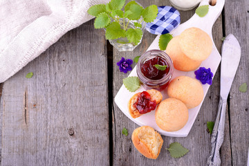 scone with strawberry jam, afternoon tea , buttermilk biscuits
