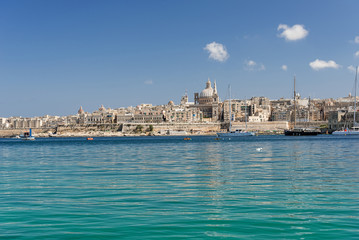 Valletta panoramik Skyline with dome at background