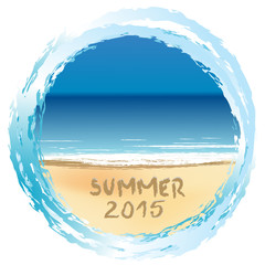 Holiday card with Summer 2015 written on sandy beach
