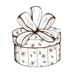 Present box with decorative bow.
