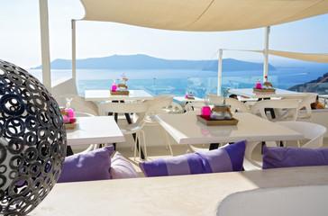 Bar terrace with view in Santorini island - Greece