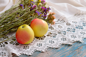Still life with Limonium and apples