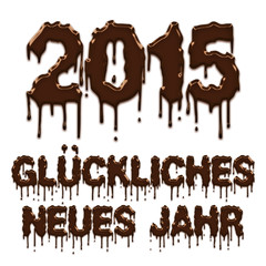 Happy New Year 2015 chocolate german poster