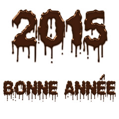 Happy New Year 2015 chocolate french poster