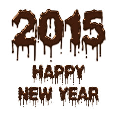 Happy New Year 2015 chocolate poster