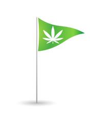 Flag with a marijuana leaf