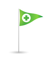 Flag with a pharmacy sign